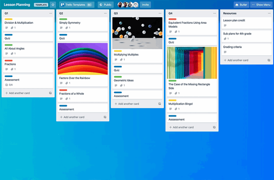 Trello board helping with organisation