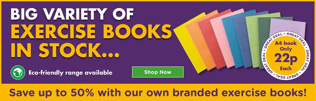 Save up to 50% on exercise books
